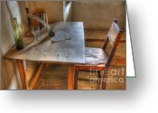 Historic Furniture Greeting Cards - California Mission La Purisima Desk Greeting Card by Bob Christopher