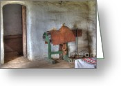 Historic Furniture Greeting Cards - California Mission La Purisima Saddle Room Greeting Card by Bob Christopher