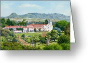 Historic Site Greeting Cards - California Mission San Luis Rey Greeting Card by Mary Helmreich