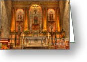 Historic Furniture Greeting Cards - California Mission Santa Barbara Alter Greeting Card by Bob Christopher