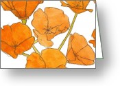Decorative Floral Drawings Greeting Cards - California Poppies Greeting Card by Dena McMurdie