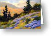 Impressionist Greeting Cards - California Slope With Lupine Greeting Card by Susan F Greaves