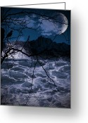 Blue Moon Greeting Cards - Caliginosity Greeting Card by Lourry Legarde