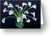 Dominica Alcantara Greeting Cards - Calla Lilies Greeting Card by Dominica Alcantara