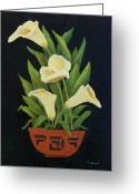 Black Ceramics Greeting Cards - Calla lilies Greeting Card by Jane Landry  Read