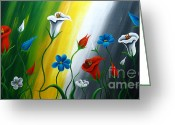 Flower Photographs Painting Greeting Cards - Calla Lilies Greeting Card by Uma Devi