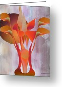 Lacy Abstract Greeting Cards - Calla Lily Abstract Greeting Card by Anne Lacy