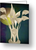 Lacy Fractal Greeting Cards - Calla Lily Abstract -v2 Greeting Card by Anne Lacy