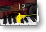 Pianos Greeting Cards - Calla lily and violin on piano Greeting Card by Garry Gay