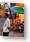 Street Vendor Greeting Cards - Calle de Coco Greeting Card by Skip Hunt