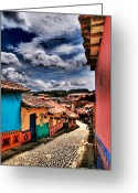 Guatape Greeting Cards - Calle de Colores Greeting Card by Skip Hunt