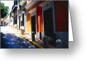 Colonial Scene Greeting Cards - Calle Del Sol Old San Juan Puerto Rico Greeting Card by George Oze