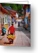 Guatape Greeting Cards - Calle Naranja Greeting Card by Skip Hunt