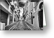Cobblestone Street Greeting Cards - Callejon Greeting Card by John Rizzuto