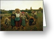 Hay Painting Greeting Cards - Calling in the Gleaners Greeting Card by Jules Breton
