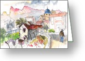 Esquisse Greeting Cards - Callosa de Ensarria Greeting Card by Miki De Goodaboom