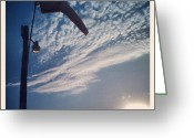 Sky Greeting Cards - Calm. #airport #windsock #sky #clouds Greeting Card by Adam Romanowicz