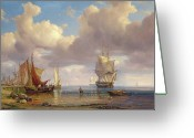 Quay Greeting Cards - Calm Sea Greeting Card by Adolf Vollmer