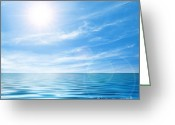 Green Greeting Cards - Calm seascape Greeting Card by Carlos Caetano