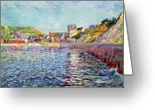 Ports Greeting Cards - Calvados Greeting Card by Paul Signac