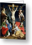 Jesus Painting Greeting Cards - Calvary Greeting Card by Abraham Janssens van Nuyssen