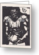 Sports Art Drawings Greeting Cards - Cam Newton Greeting Card by Jeremiah Colley