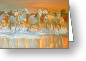 Wild Horses Greeting Cards - Camargue  Greeting Card by William Ireland