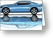 Camaro Greeting Cards - Camaro 2010 Reflects Old Blue Greeting Card by David Kyte