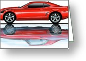 Camaro Greeting Cards - Camaro 2010 Reflects Old Red Greeting Card by David Kyte