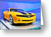 Auto Show Greeting Cards - Camaro Bumble Bee 0993 Greeting Card by Michael Peychich
