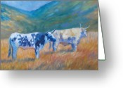 Cattle Greeting Cards - Cambria Cattle Greeting Card by Theresa Paden