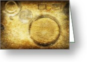 Burnt Greeting Cards - Camera Pattern On Old Grunge Paper Greeting Card by Setsiri Silapasuwanchai