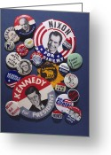 Hubert Greeting Cards - Campaign Buttons Greeting Card by Granger