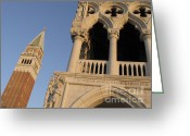 St Marc Greeting Cards - Campanile and palace ducal. Venice Greeting Card by Bernard Jaubert