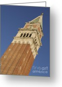 St Marc Greeting Cards - Campanile . Plazza san marco. Venice Greeting Card by Bernard Jaubert