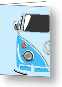 Hippie Greeting Cards - Camper Blue Greeting Card by Michael Tompsett