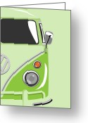 Hippie Art Greeting Cards - Camper Green 2 Greeting Card by Michael Tompsett
