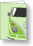Hippie Greeting Cards - Camper Green Greeting Card by Michael Tompsett