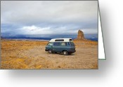 Natural Formations Greeting Cards - Camper in Trona Pinnacles Greeting Card by David Buffington