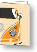 Hippie Greeting Cards - Camper Orange 2 Greeting Card by Michael Tompsett