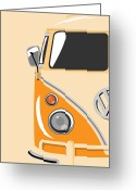 Retro Greeting Cards - Camper Orange Greeting Card by Michael Tompsett