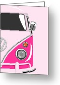 Hippie Greeting Cards - Camper Pink 2 Greeting Card by Michael Tompsett