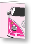 Hippie Greeting Cards - Camper Pink Greeting Card by Michael Tompsett