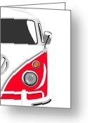 Hippie Greeting Cards - Camper Red 2 Greeting Card by Michael Tompsett