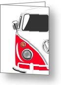Hippie Greeting Cards - Camper Red Greeting Card by Michael Tompsett