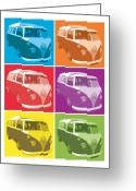 Surf Art Greeting Cards - Camper Van Pop Art Greeting Card by Michael Tompsett