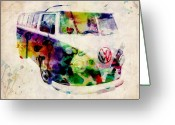 Retro Greeting Cards - Camper Van Urban Art Greeting Card by Michael Tompsett