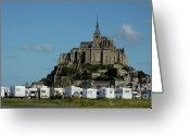 Campervan Greeting Cards - Campervans parked beneath Mont Saint-Michel Greeting Card by Sami Sarkis