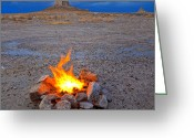 Natural Formations Greeting Cards - Campfire in Desert Greeting Card by David Buffington