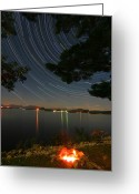Startrail Greeting Cards - Campfire Star Trails Greeting Card by Larry Landolfi